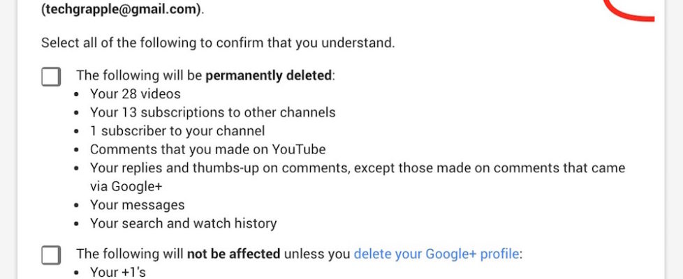 Delete YouTube Content
