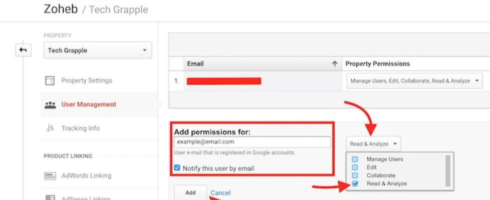 Add a new user to Google Analytics